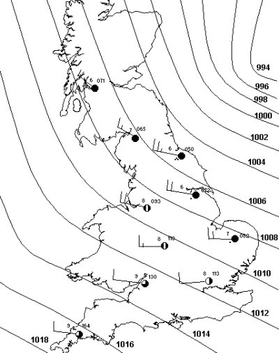 weather synoptic chart isobars depressions meteorology
